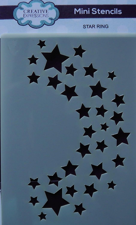 Creative Expressions Mini Stencil, Star Ring 10.5cm x 7.4cm CEMSSRING