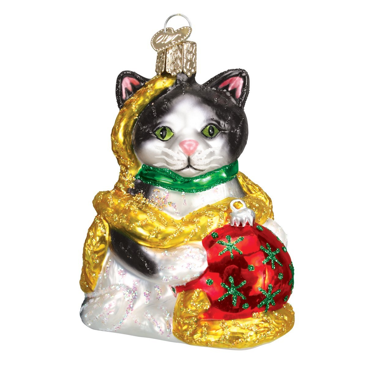 Old World Christmas Ornaments: Holiday Kitten Glass Blown Ornaments for Christmas Tree