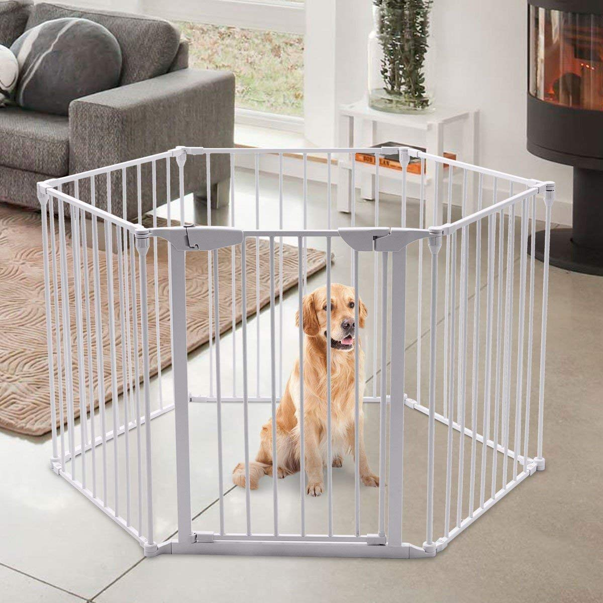 Teekland White Baby Safety Gate/Baby Protect Walls/Fireplace Fence/Dog Gates Indoor/Play Yard with Door,6 Panels Fireplace Extended Metal Fence for Pet/Toddler/Dog/Cat/Christmas Tree by Teekland (Image #3)