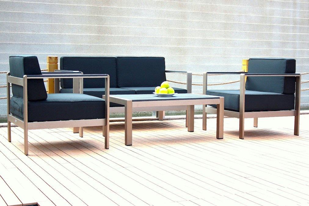 talfa alu gartenm bel edelstahl look sitzgruppe toledo. Black Bedroom Furniture Sets. Home Design Ideas