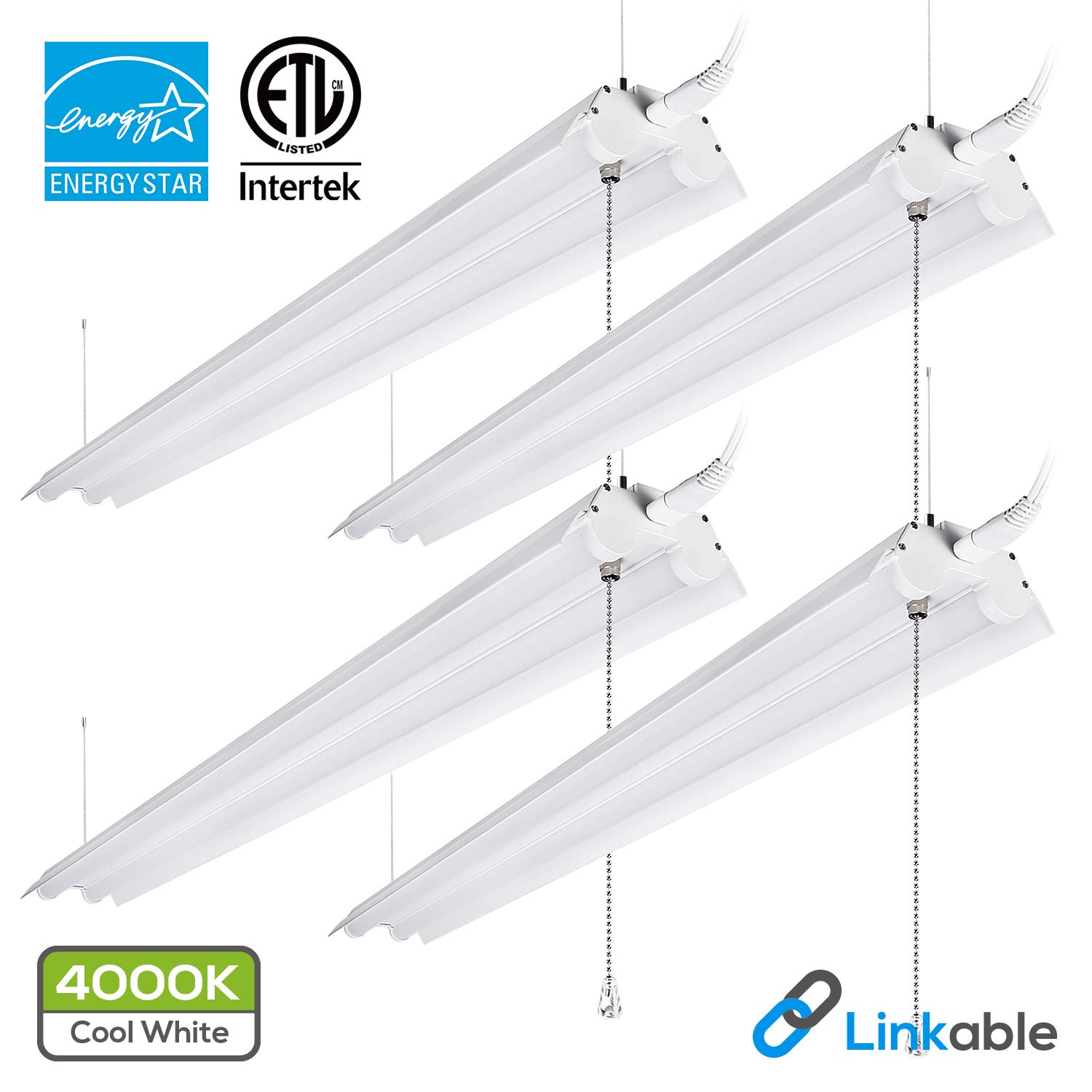 LeonLite 40W 4ft Linkable LED Utility Shop Light, Double-Tube T8 LED, 4000lm 120W Equivalent, ETL & Energy Star Certified Suit for Garage, Workbench, Office, Warehouse, 4000K Cool White, Pack of 4
