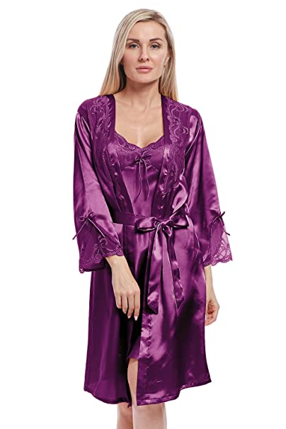 abf62b57e BellisMira Women's Long Satin Robe Bridal Kimono Lace Pajamas Sleepwear Robe  ONLY Size UP Purple,