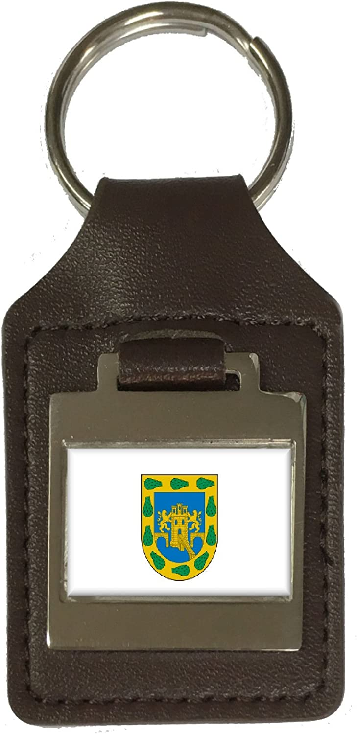 Leather Keyring Engraved Mexico City City Mexico Flag