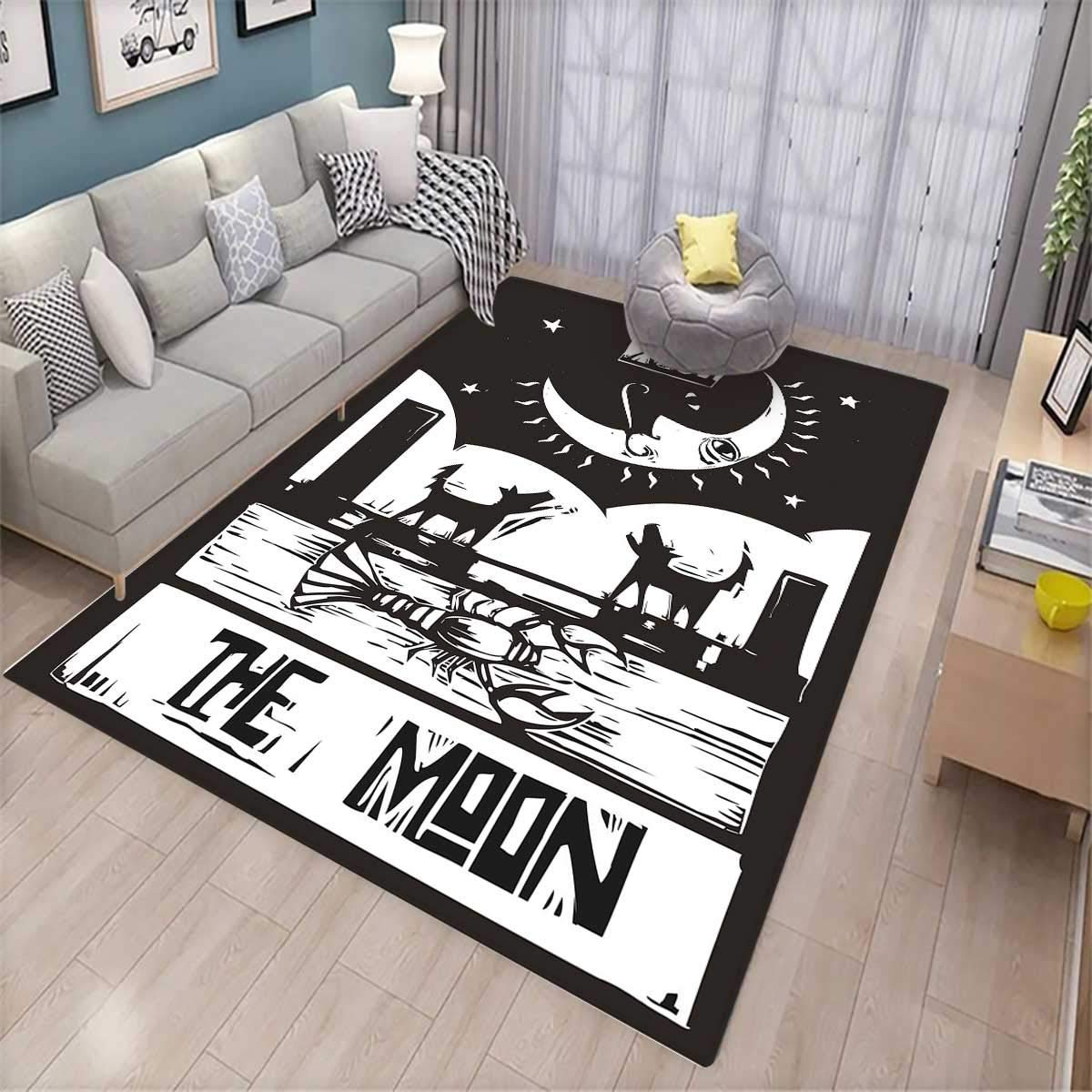 Moon Extra Large Area Rug Brown White Drawing Lobster Wolves Crescent Moon Stars Tarot Card Design Bath Mat for tub Charcoal Grey White