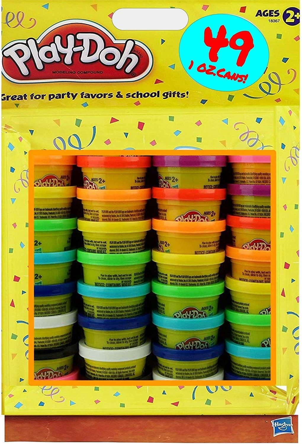 1-Ounce Cans Assorted Colors Play-Doh Modeling Compound 49-Pack Case of Colors Non-Toxic Ages 2 and up