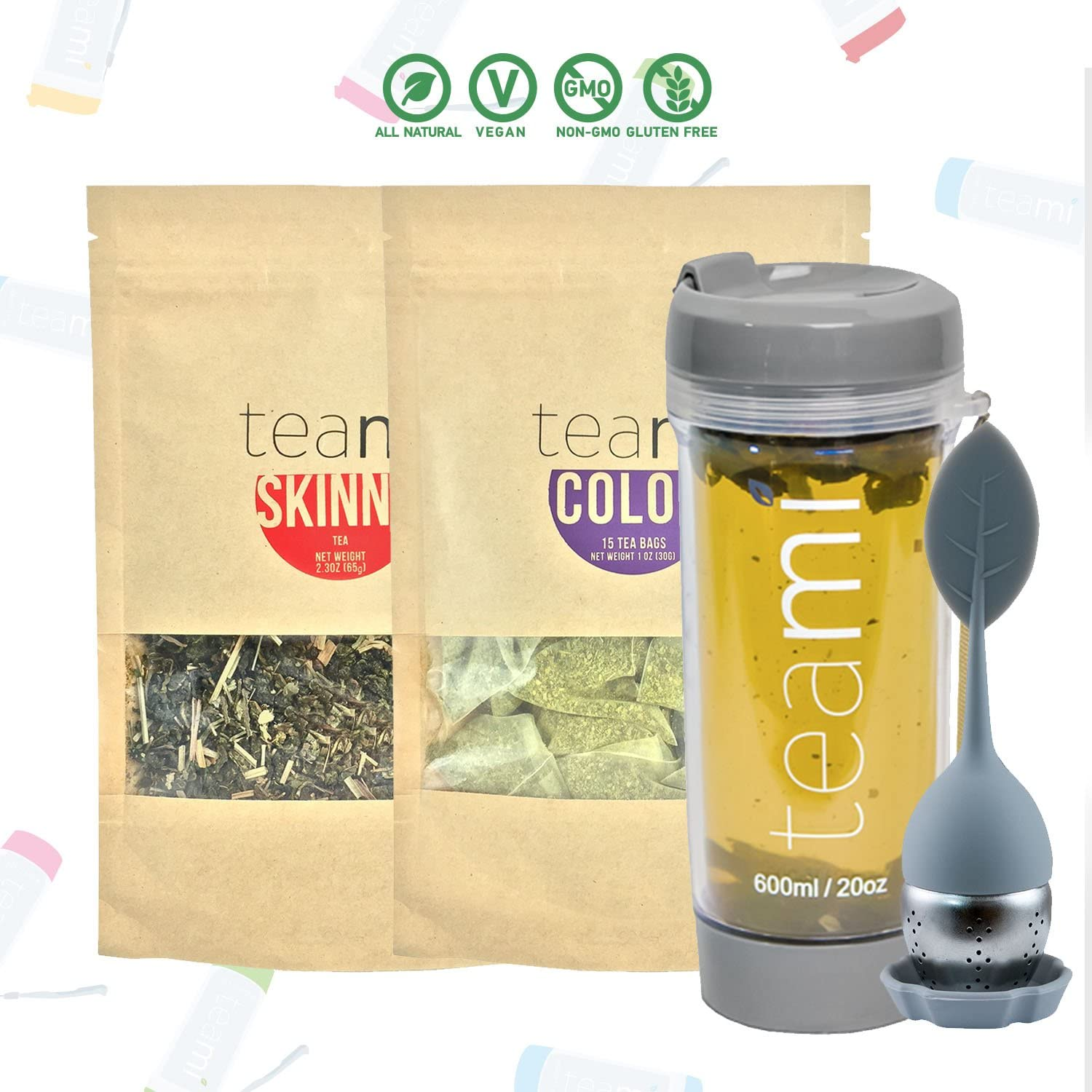 Teami 30-Day Detox Tea Starter Pack All-Natural Teatox Kit with Teami Skinny Teami Colon Cleanse Loose Leaf Herbal Teas w 20oz Grey Tumbler and Infuser