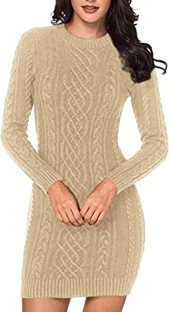 Pink Queen Women's Elasticity Slim Fit Cable Knit Long Sleeve Sweaters Dress
