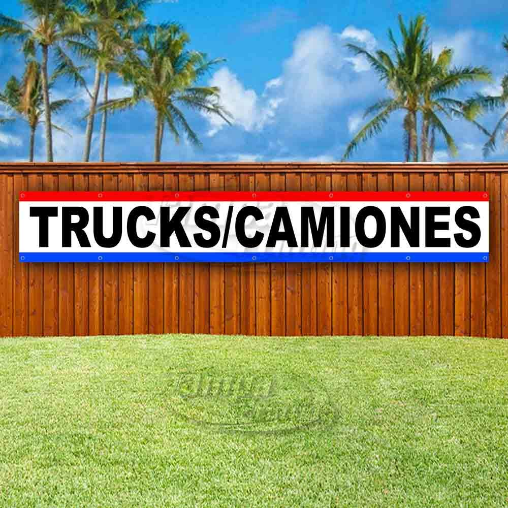 New Store Many Sizes Available Flag, Trucks//CAMIONES Extra Large 13 oz Heavy Duty Vinyl Banner Sign with Metal Grommets Advertising