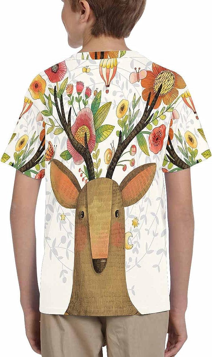 INTERESTPRINT Deer with Flowers Childs T-Shirt XS-XL