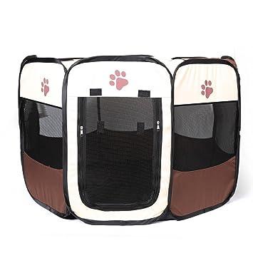 YOUJIA Parque de Juego Entrenamiento y Dormitorio Mascotas Perro Gato Portable Casa (Marrón, S): Amazon.es: Hogar
