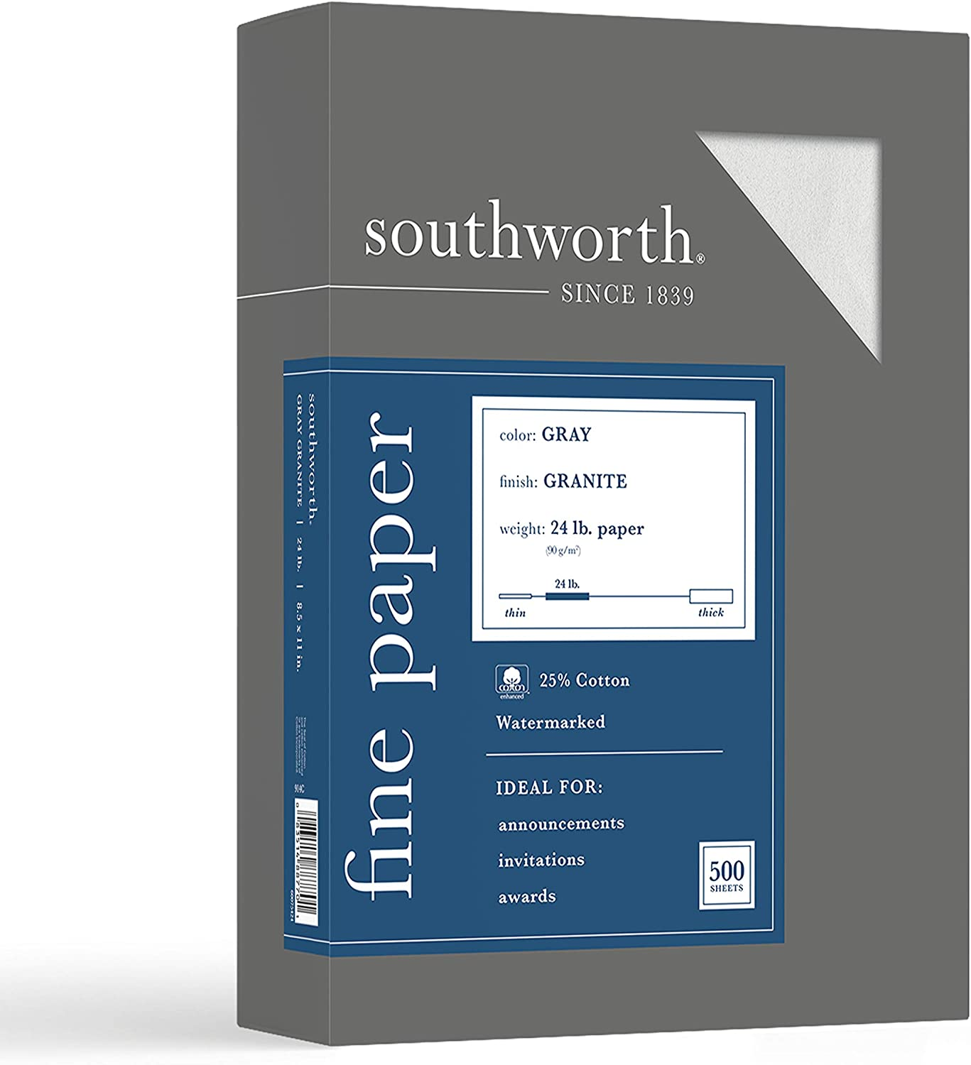 "Southworth 25% Cotton Granite Specialty Paper, 8.5"" x 11"", 24 lb/90 GSM, Gray, 500 Sheets - Packaging May Vary (914C)"