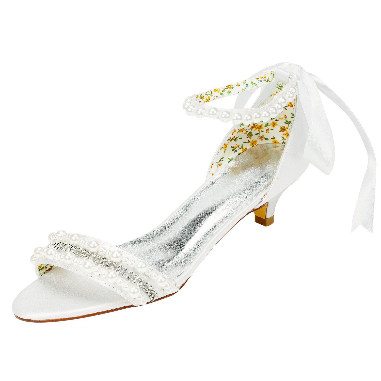 Emily Bridal Frauen Satin Kitten Heel Sandalen mit mit mit Perlen Crystal cc9764