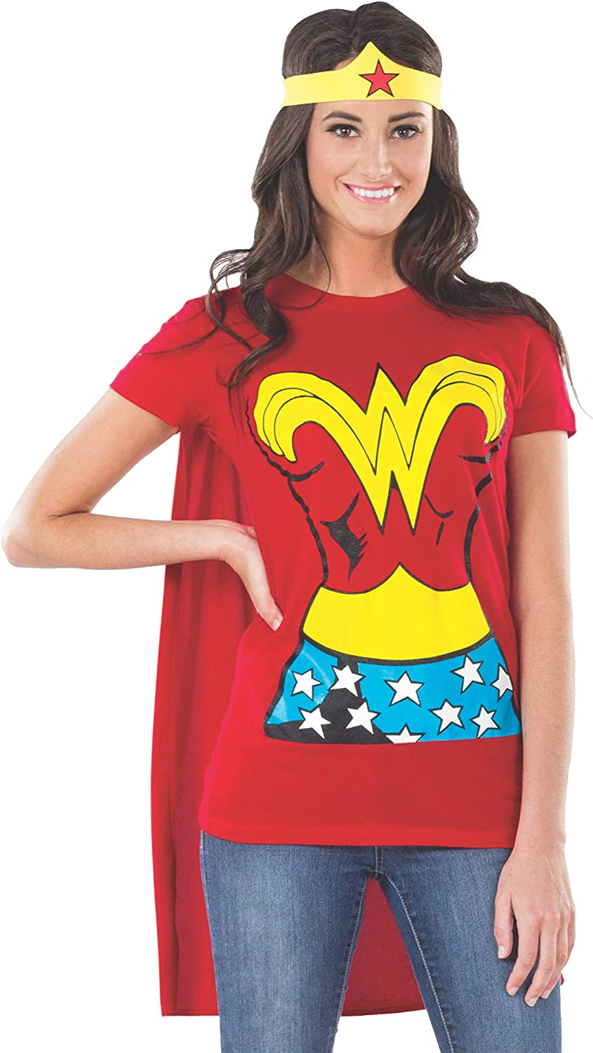 Rubie's Costume DC Comics Wonder Woman T-Shirt With Cape And Headband  Red: Clothing
