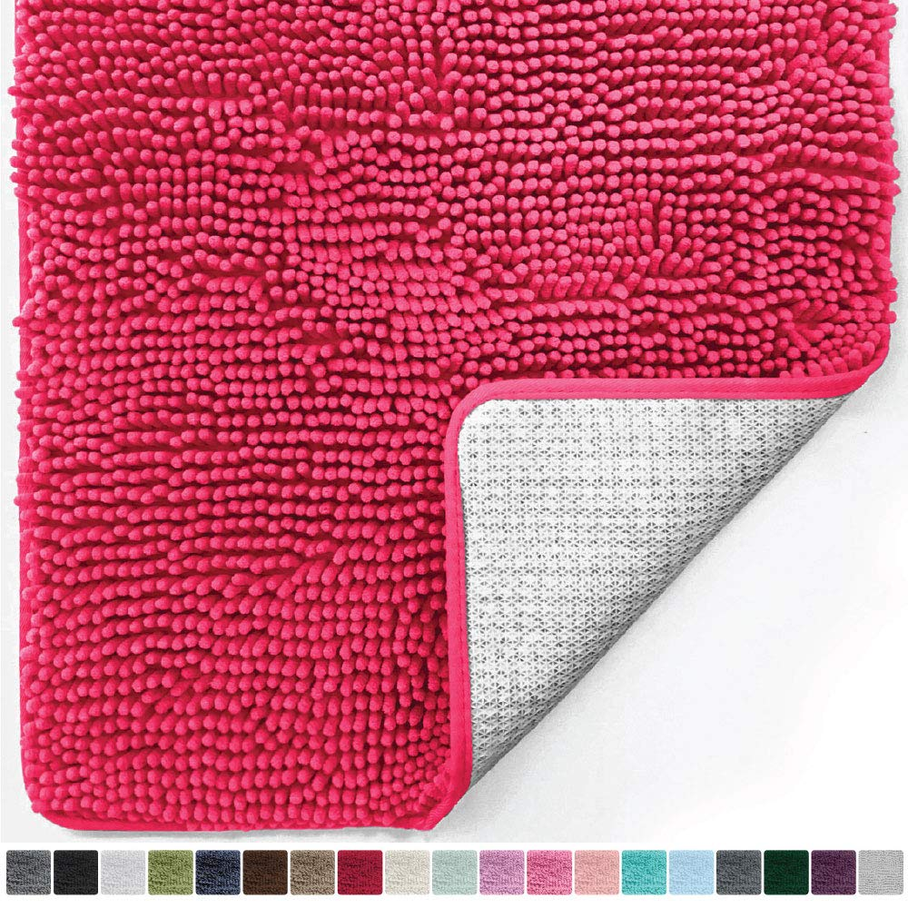 Gorilla Grip Original Luxury Chenille Bathroom Rug Mat (30x20), Extra Soft and Absorbent Kids Shaggy Rugs, Machine Wash/Dry, Perfect Plush Carpet Mats for Tub, Shower, and Bath Room (Hot Pink)
