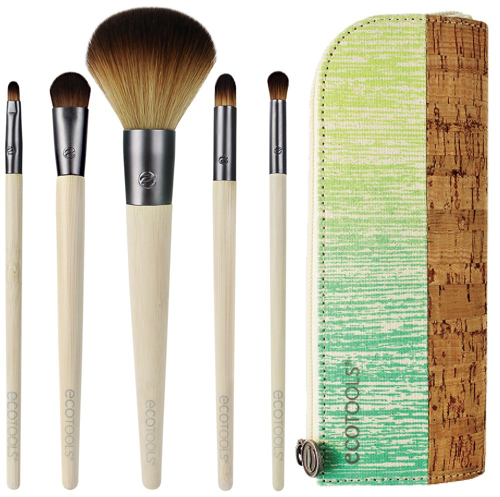 EcoTools 6 Piece Day To Night Clutch Set  Includes  Pointed Concealer  Round Powder  Detailed Lip  Stay-There Eyeshadow   Smudge Brushes  Plus Cosmetic Bag  Cruelty Free