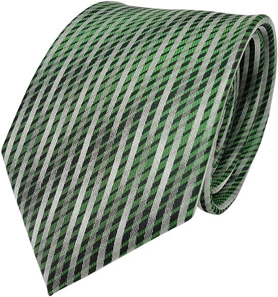 TigerTie diseñador corbata de seda - verde plata gris längs rayas ...