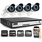 ISEEUSEE 4Channel HD DVR Video System With HDMI Output 4x 720P 1500TVL Indoor & Outdoor Night Vision Cameras and Free Pro APP Home Security Camera Surveillance Kits With No Hard Drive