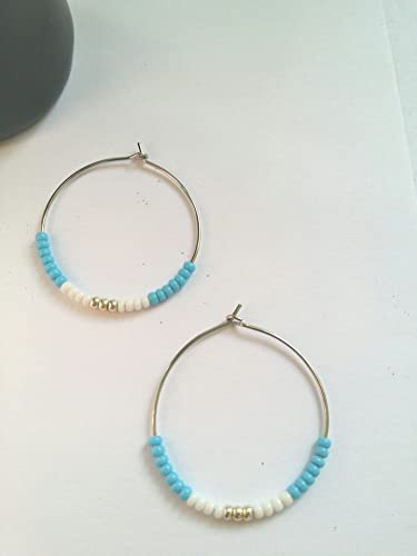 bbb8da116 Image Unavailable. Image not available for. Color: Light Blue White and  Silver-Colored Seed Bead Hoop Earrings