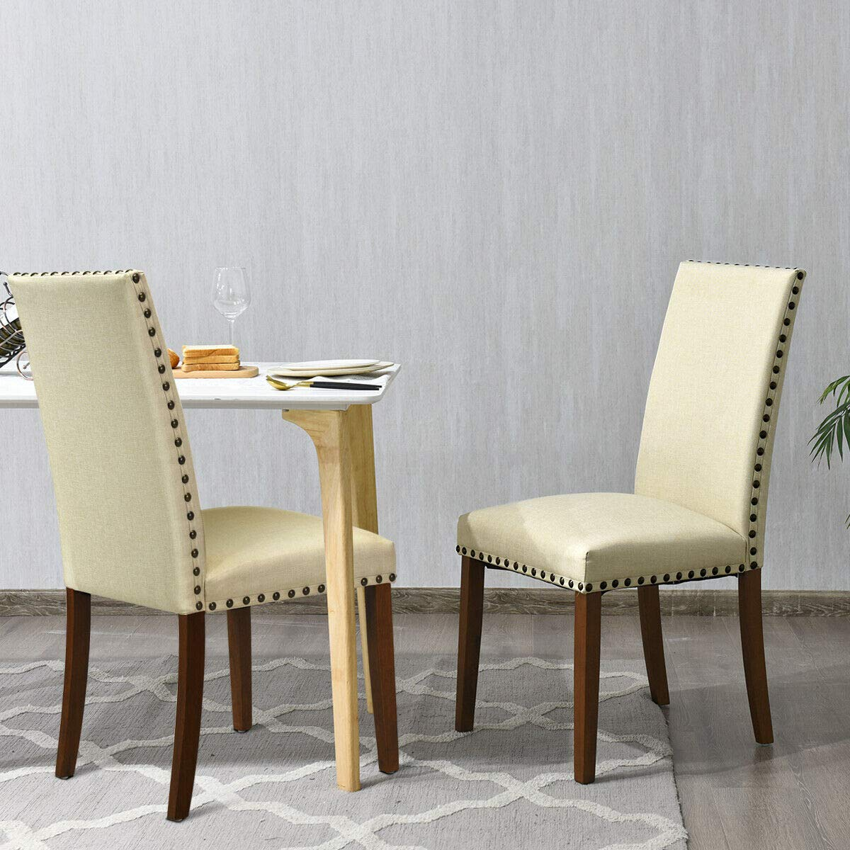 Giantex Set of 2Fabric Dining Chairs w Nailed Trim, Upholstered Cushion Solid Rubber Wooden Legs, Sponge Backrest, Classical Mid Century Style, 2 PCS Armless Side Chairs, Beige