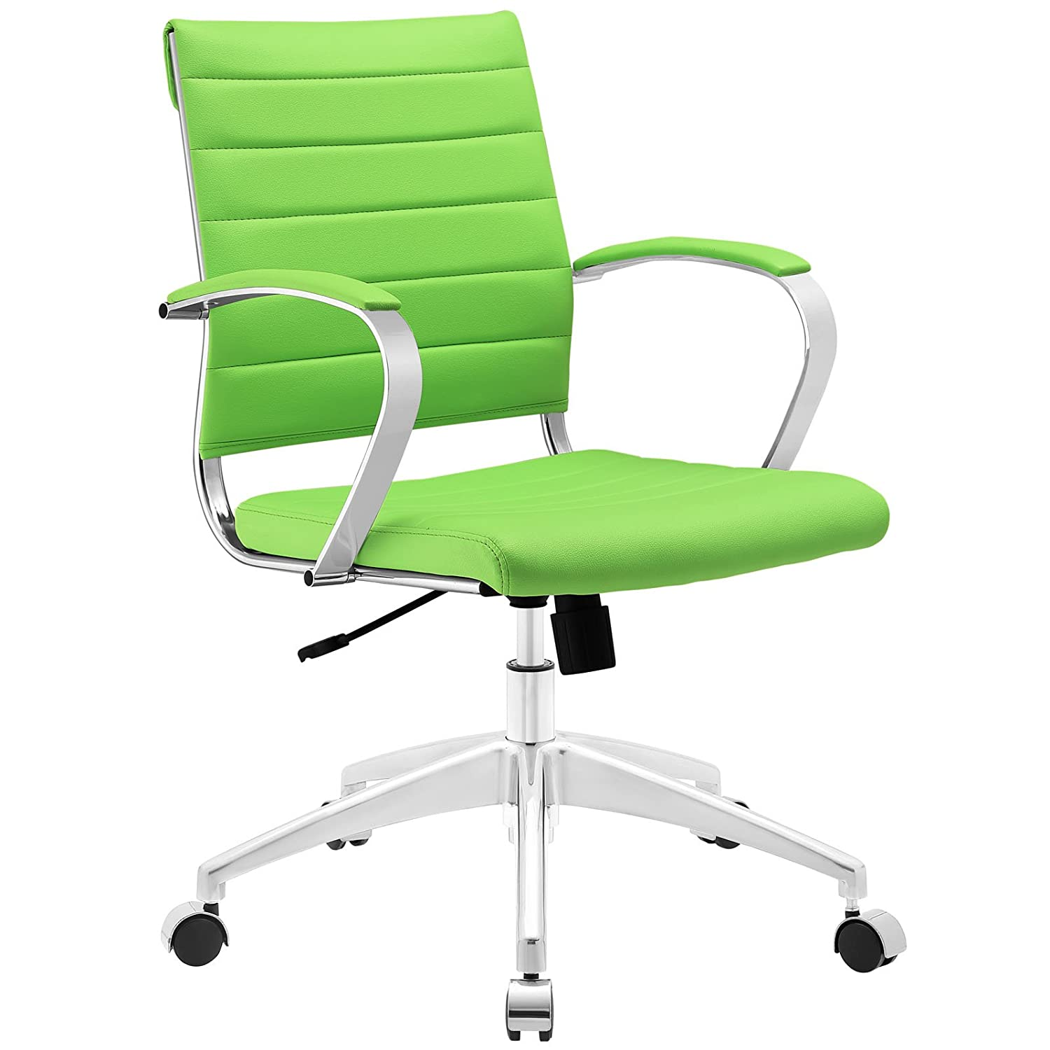 Modway Jive Ribbed Mid Back Computer Desk Swivel Office Chair In Bright Green