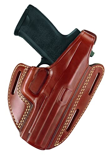 Gould & Goodrich 803-G17 Gold Line Three Slot Pancake Holster (Chestnut Brown) Fits GLOCK 17, 22, 31