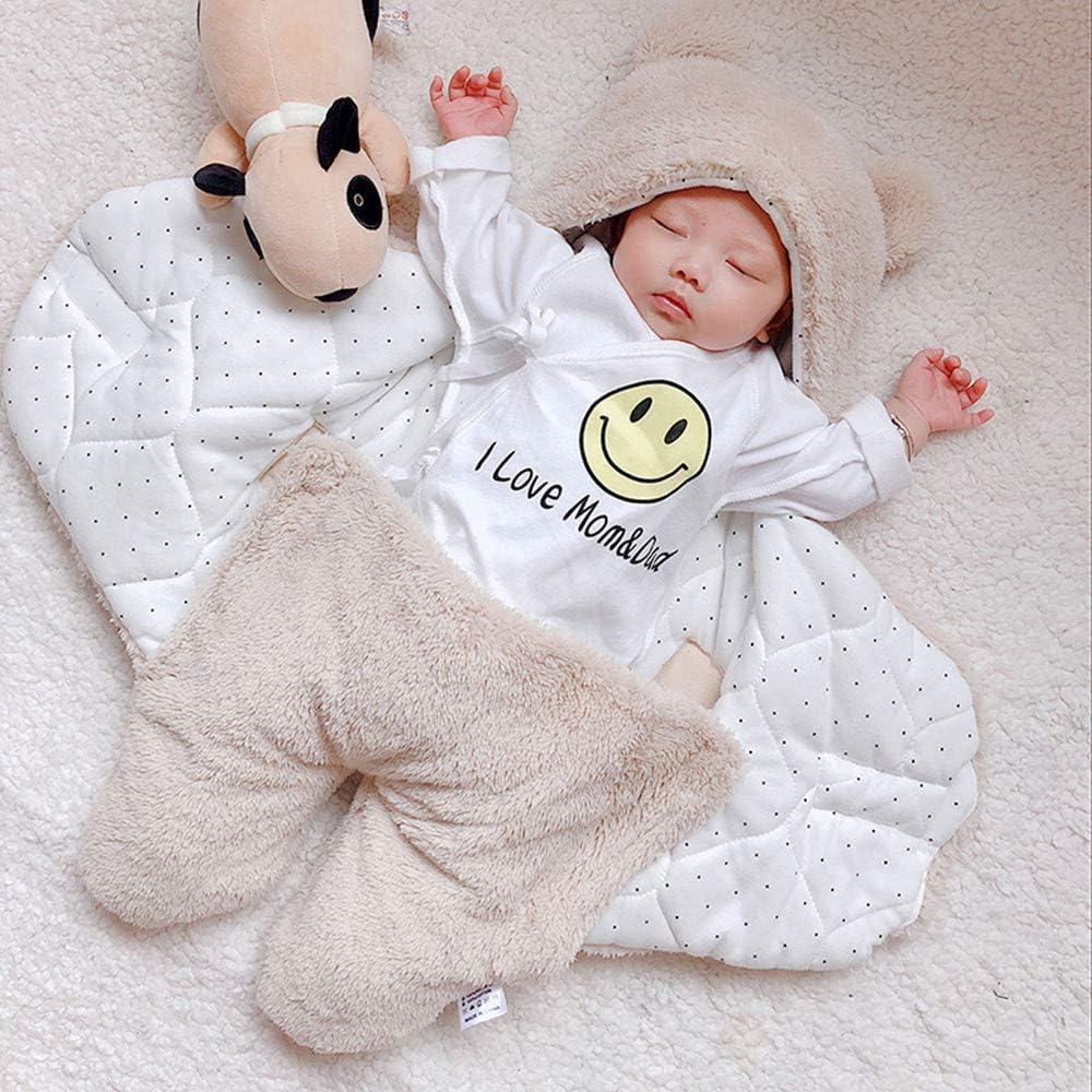 FEITONG Newborn Infant Baby Girls Boys Cute Cotton Solid Soft Plush Sleeping Blanket Wrap Swaddle