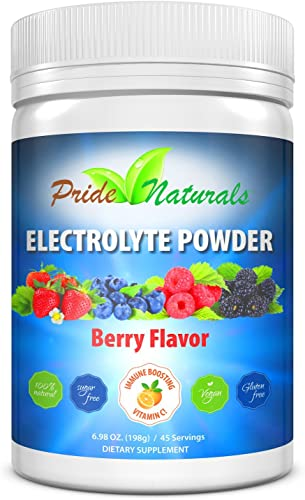Electrolyte Powder – Refreshing Workout Recovery Electrolytes, All Natural, Sugar Free, Gluten Free Vegan, Pure Keto Paleo Hydration Beverage, Immune Boosting Vitamins 198 grams, Berry Flavor