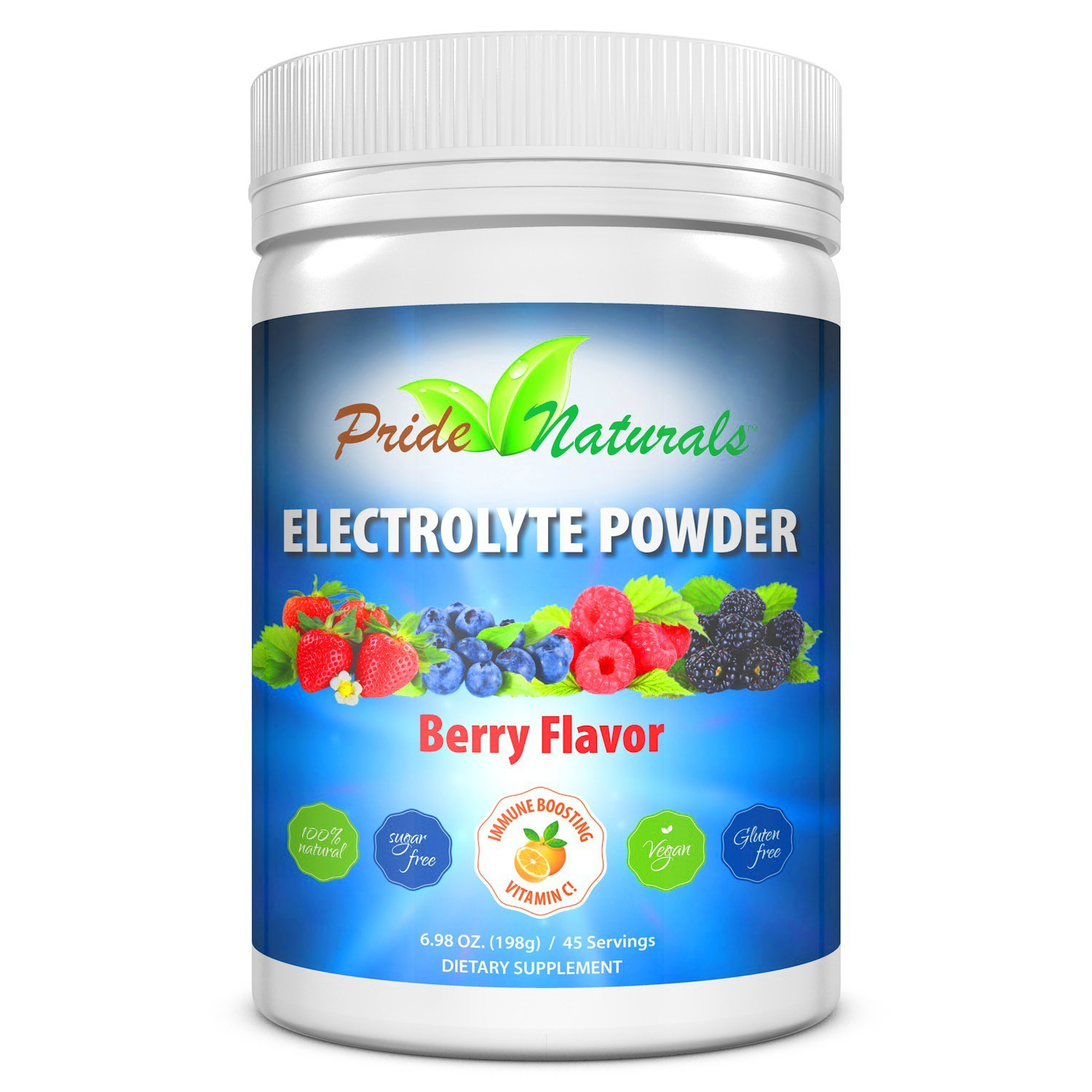 Electrolyte Powder - Refreshing Pre & Post Workout Recovery Electrolytes | All Natural, Sugar Free, Gluten Free & Vegan | Pure Keto & Paleo Hydration Beverage Mix | Immune Boosting Vitamins & Minerals by Pride Naturals Inc
