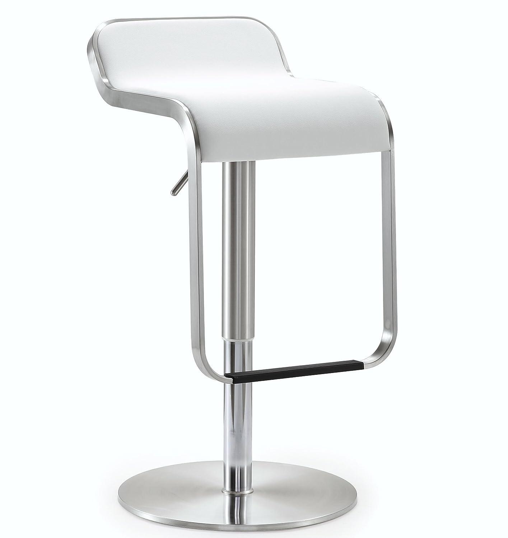 Tov Furniture Napoli Stainless Steel Adjustable Barstool, White