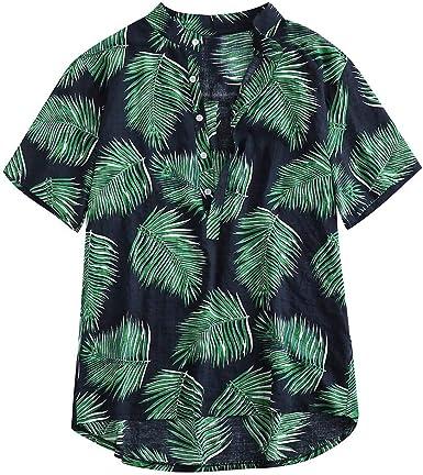 ACEBABY Camisa Hawaiana Hombre Camisas Hombre Casual Impresión de la Hoja Camisa de Manga Larga con Cuello Henry, Manga Corta, Camisas Fiesta Playa: Amazon.es: Ropa y accesorios