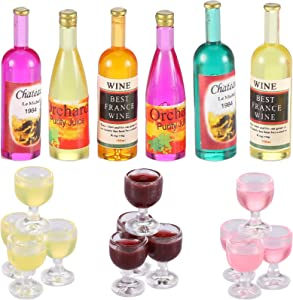 18 Pieces Dollhouse Wine Bottles Champagne Cups for Doll Miniature Wine Glasses Dollhouse Goblet Cups Colorful Mini Red Wine Bottles Miniature Drink Bottles Kitchen Accessories for Dollhouse Decors
