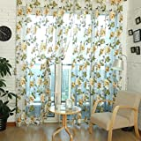 Edal Durable Floral Tulle Voile Voile Curtain Sheer Panel Drape Window Scarfs Yellow Flower with Beads