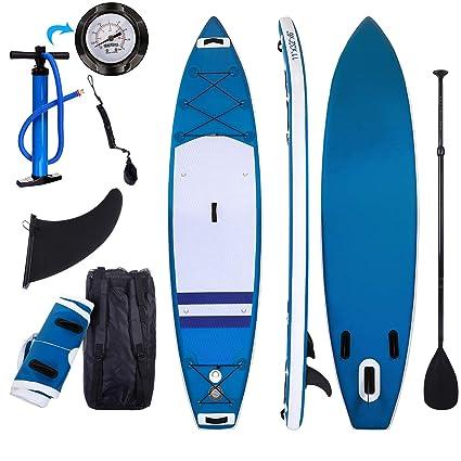 Tabla Paddle Surf Hinchable para Principiantes con Bomba de Acción Doble, Funda Plegable, Mochila, Kit de Reparación