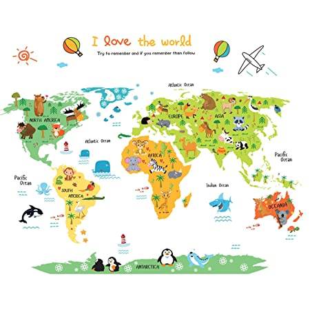 Children\'s Kids World Map Wall Sticker Animal World Map Wall ...
