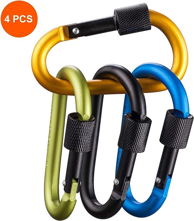 2pcs 26KN D-Ring Carabiner Clip Hook Rock Climbing Screwgate Screw Locking