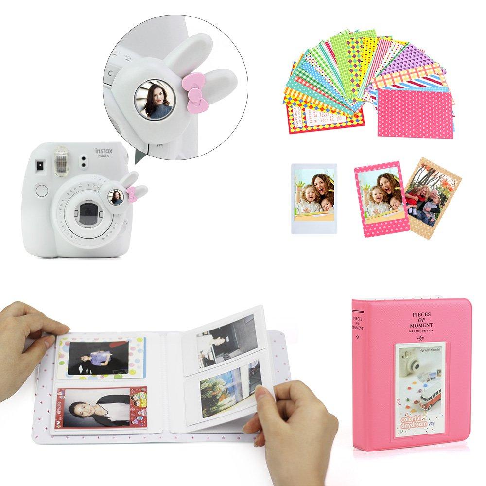 WOGOZAN Fujifilm Instax Mini 9 Mini 8 Instant Film Camera Leather Case Suit with Case Filters /& Other 6 Accessories 9 Items Compatible for Fujifilm Instax Mini 9 8 8+ Flamingo Cactus Kit Album