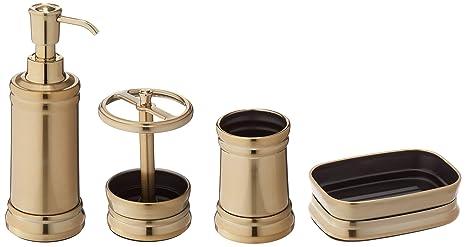 mDesign Juego de 4 accesorios para el baño – Porta cepillos de dientes, dosificador de
