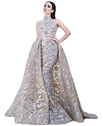 5e71381066ea1c Ruisha Charming Arabic Evening Gowns Sleeveless A Line Gold Sequin Halter Prom  Dresses Party Dress Size