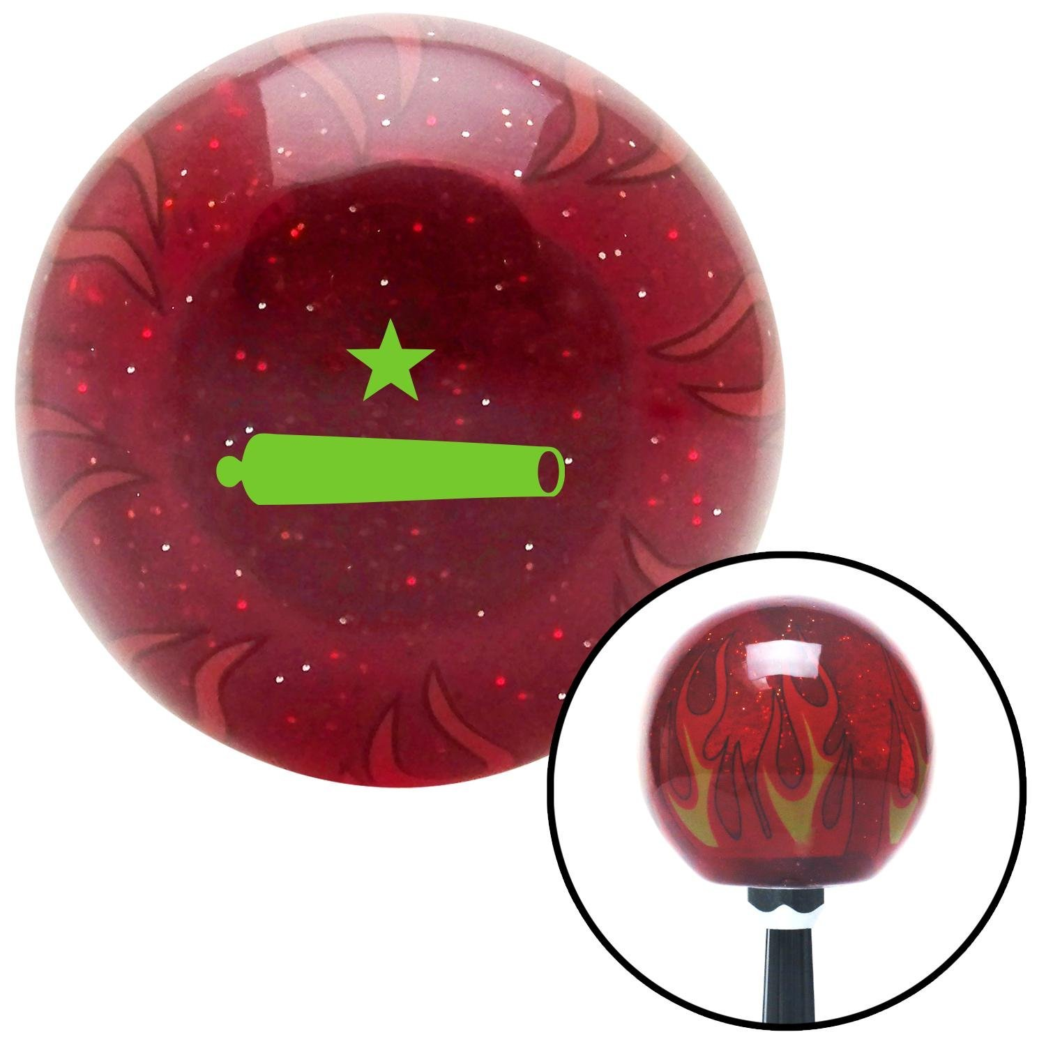 Green Come and Take It American Shifter 242363 Red Flame Metal Flake Shift Knob with M16 x 1.5 Insert