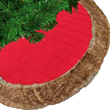 FOT Luxury Knitted Fur Trim 48quot Christmas Tree SkirtThick Heavy Yarn Wine Red