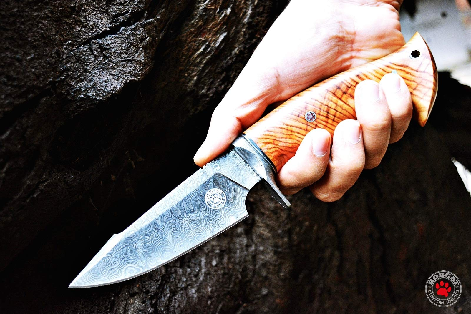 Custom Handmade Hunting Knife Bowie Knife Damascus Steel Survival Knife EDC 10'' Overall Olive Wood with Sheath by Bobcat Knives (Image #5)