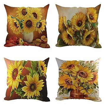 Amazon.com: Pillow Cases - 18x18 in - 4PC Bird Sunflower ...
