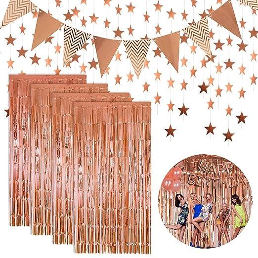 Decoraciones Fiesta cumpleaños Oro Rosa, Cortinas de oropel ...