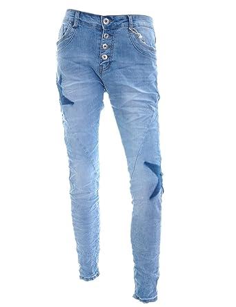 Lexxury Mujer Jeans con Botones y Estrellas Denim Boyfriend ...