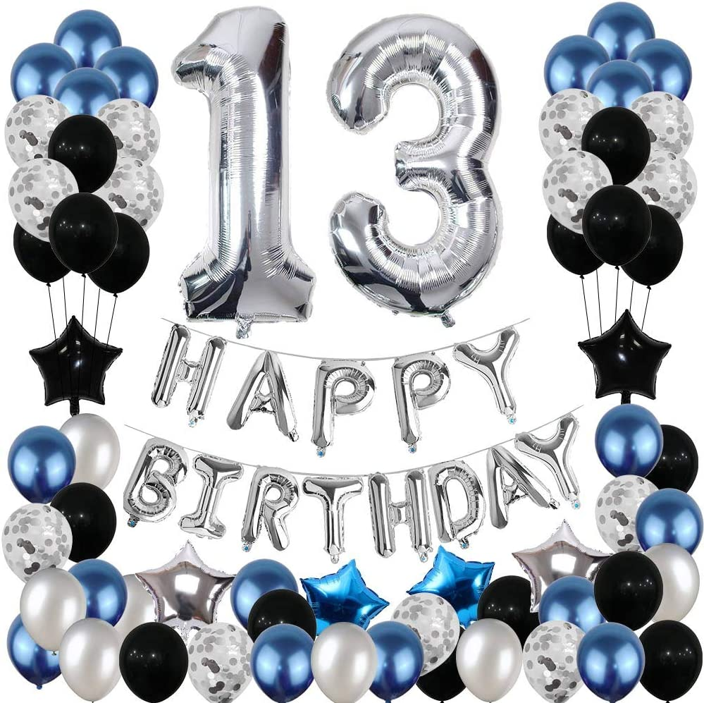 13th Birthday Decorations, Happy Birthday Balloons Banner Party Supplies, Silver Birthday Balloon Letter 13, Silver Confetti Balloons Birthday Decor, Blue Birthday Party Decorations Set for Boys Girls (65pcs)