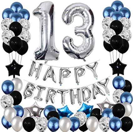 Black Aluminum Foil Banner Balloons for Birthday Party Decorations and Supplies Happy Birthday Balloons