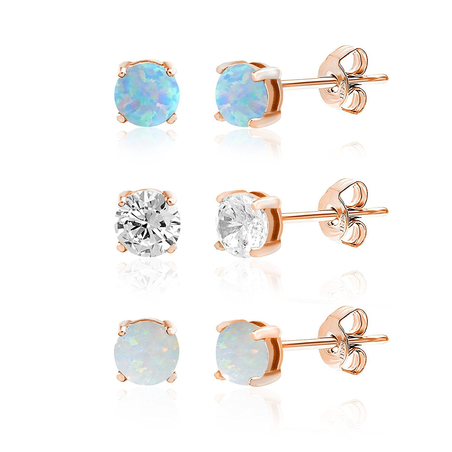 Lesa Michele Lab Created Opal and Cubic Zirconia 3 pair Stud Earring Set in Rose Gold over Sterling Silver