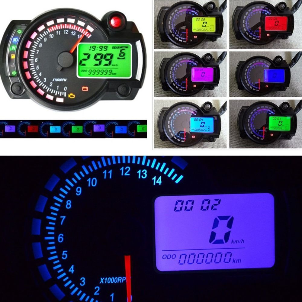 Moligh doll 7-Farben LED Motorrad RX2N ATV LCD digital Tachometer Tachometer Meter 15000rpm
