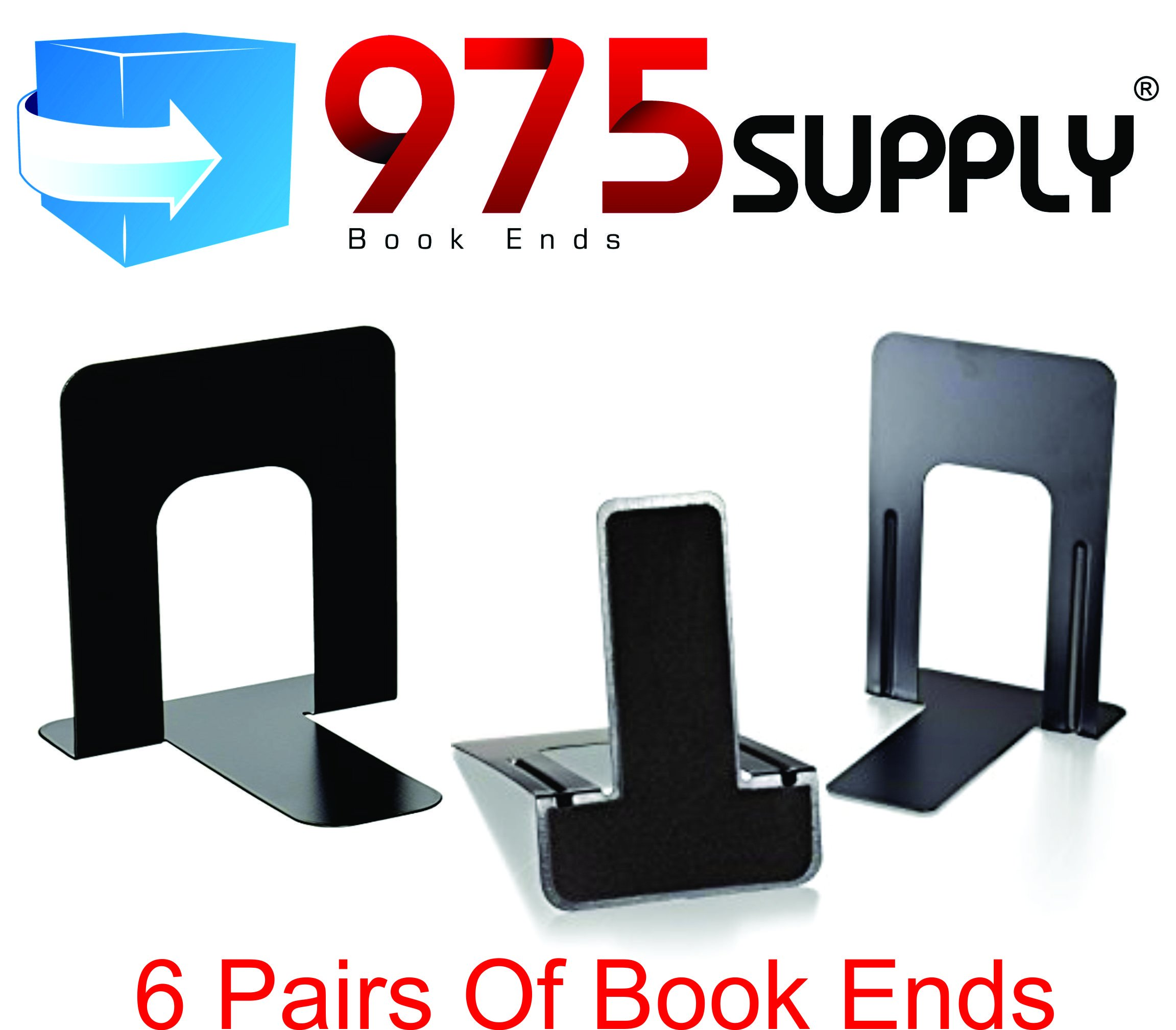 Book Ends - 975 Brand - Standard - 4-9/10'' x 5-7/10'' x 5-3/10'' - Heavy Gauge Steel - Black (6 Pair)