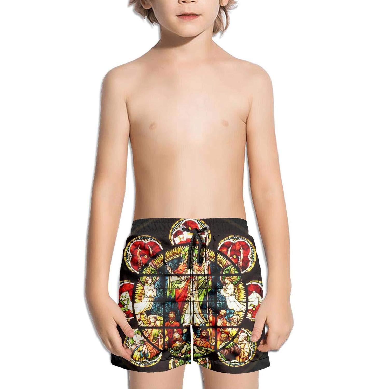 FullBo Mandala Muse Stained Glass Retro Design Little Boys Short Swim Trunks Quick Dry Beach Shorts